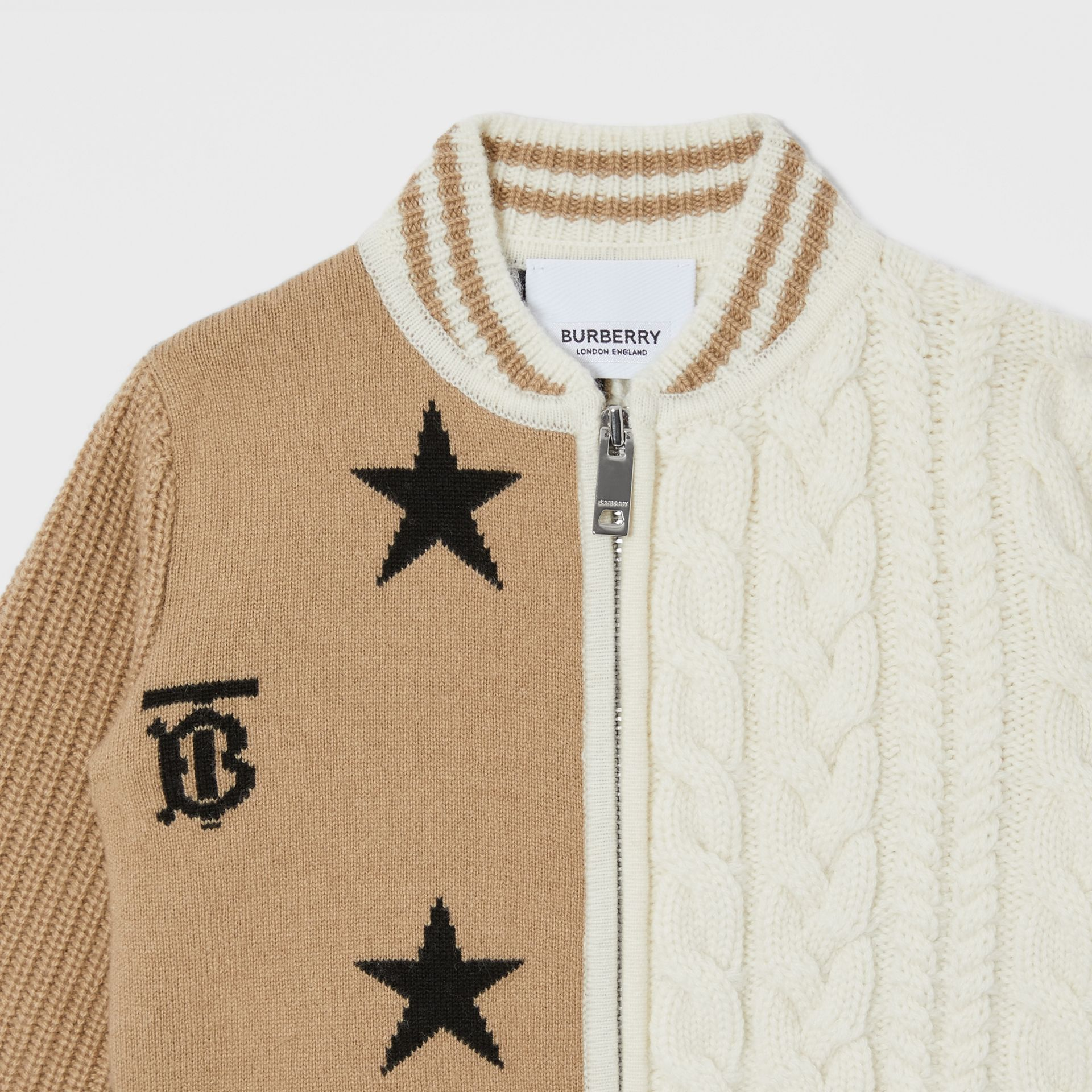 Star and Monogram Motif Wool Cashmere Blend Jacket in Archive Beige - Children | Burberry - gallery image 4