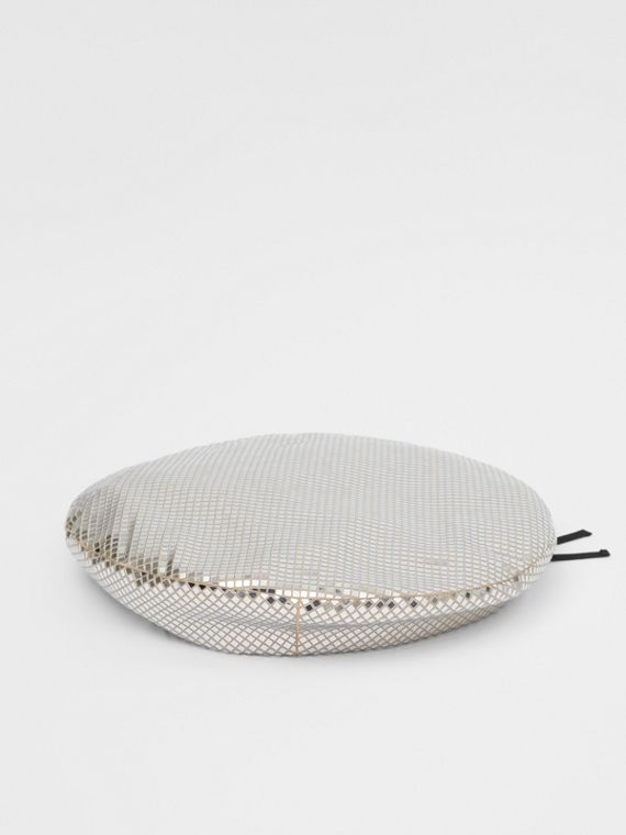 Mirrored Stretch Jersey Oversized Beret in Silver