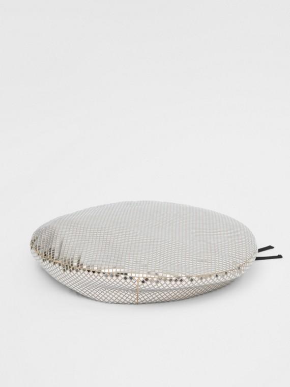 Basco oversize in jersey stretch con piccole decorazioni a specchio (Argento)