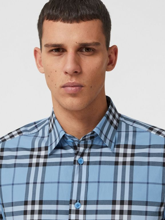 Check Cotton Poplin Shirt in Vivid Cobalt - Men | Burberry - cell image 1