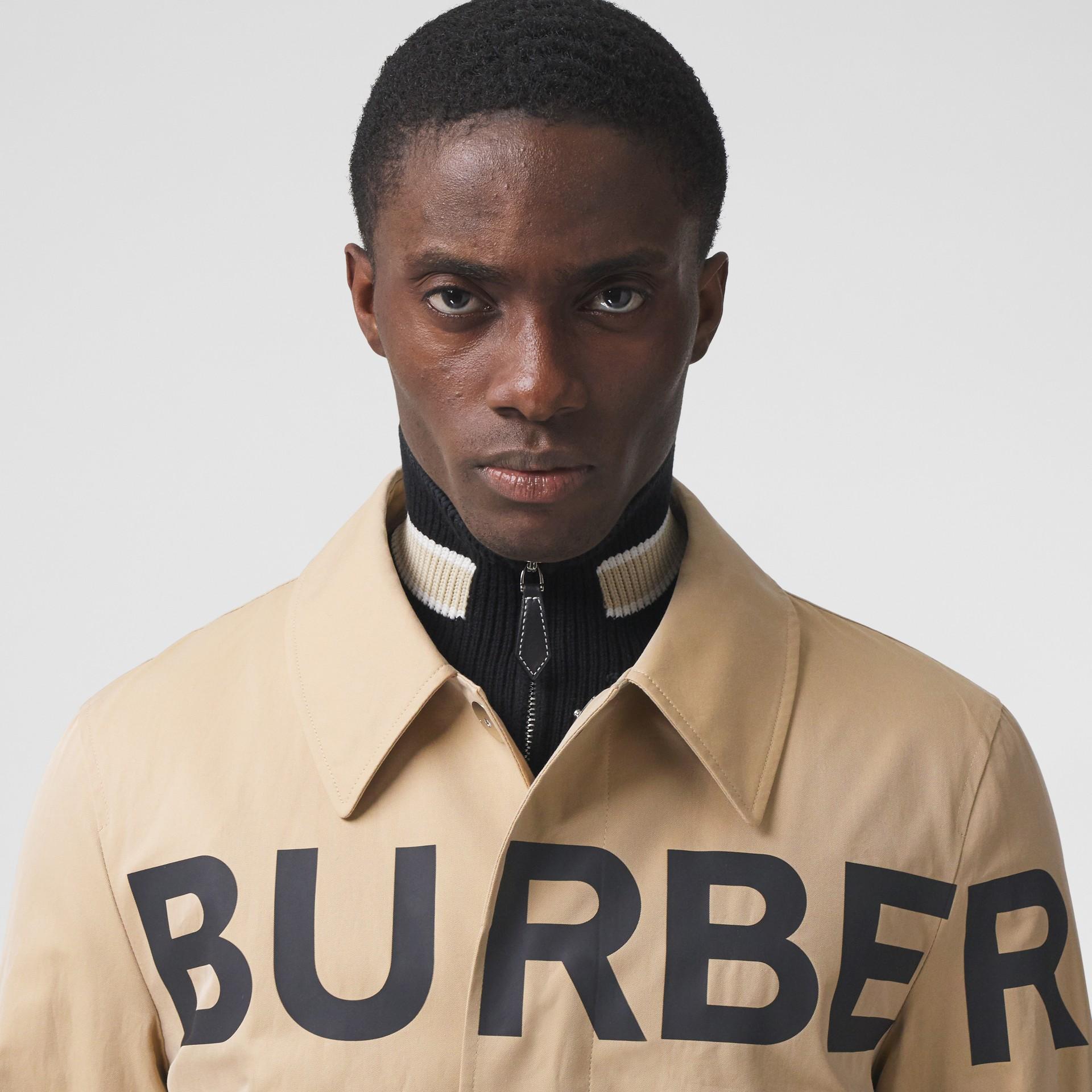 Horseferry Print Cotton Gabardine Car Coat in Honey - Men | Burberry - gallery image 1
