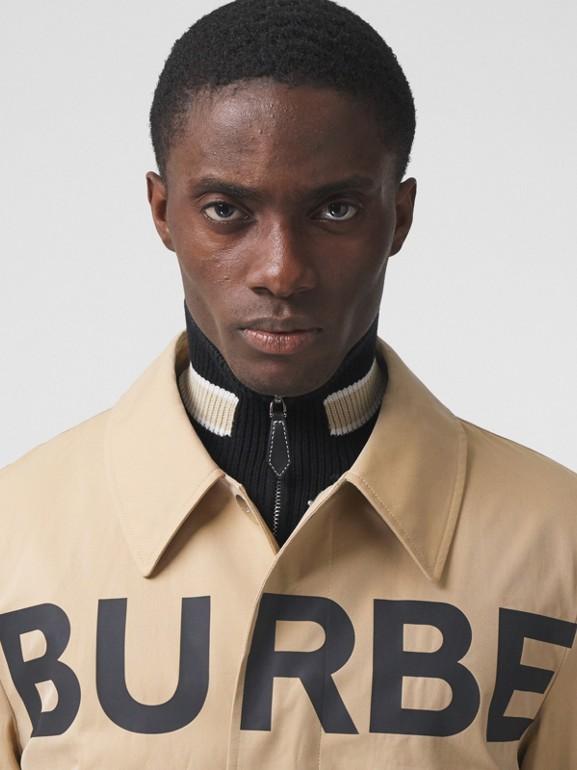 Horseferry Print Cotton Gabardine Car Coat in Honey - Men | Burberry - cell image 1