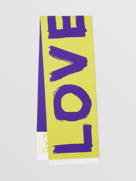 Love and Logo Wool Silk Jacquard Scarf in Yellow