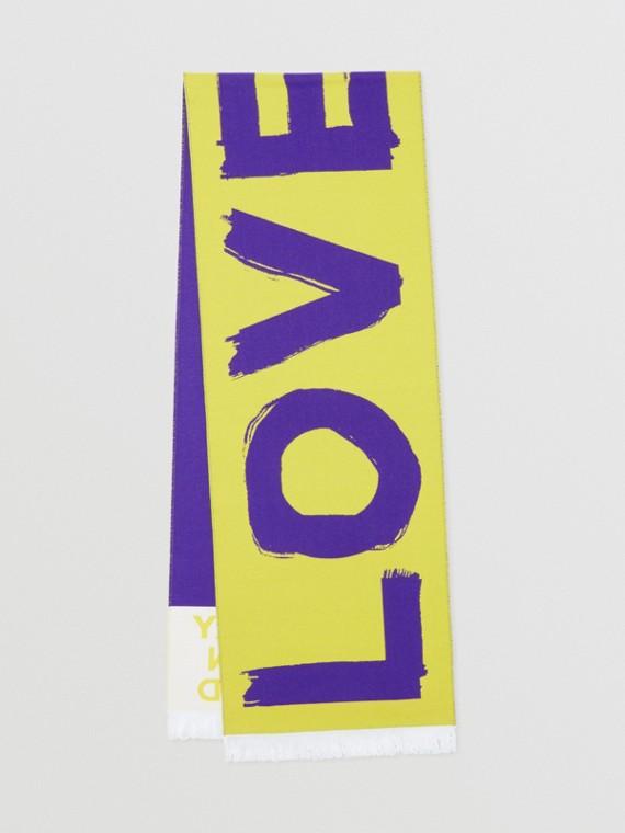 LOVE 로고 울 실크 자카드 스카프 (옐로)