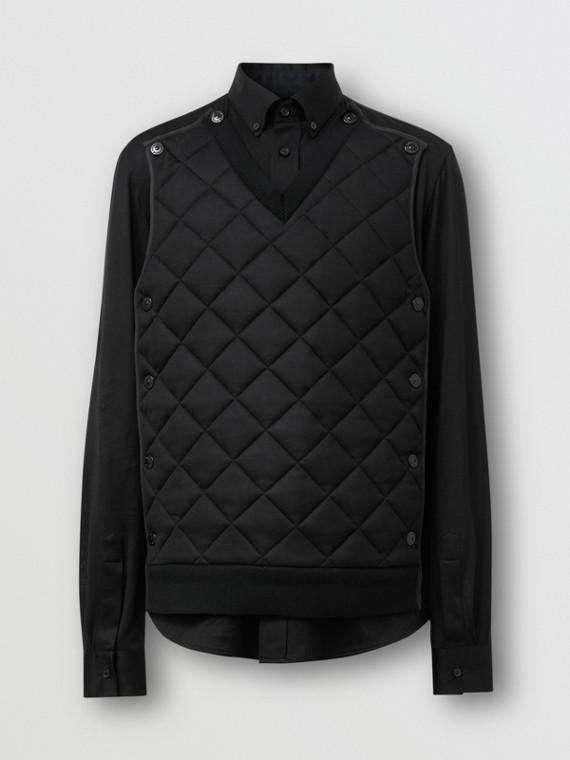 Chemise en jersey de soie avec panneau matelassé amovible (Noir)