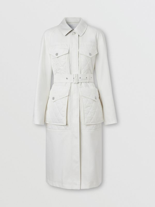 Diamond Quilted Panel Cotton Gabardine Car Coat in Natural White - Women | Burberry - cell image 3