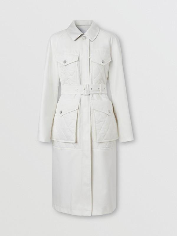 Car coat de gabardine de algodão com recorte em matelassê (Branco Natural) - Mulheres | Burberry - cell image 3