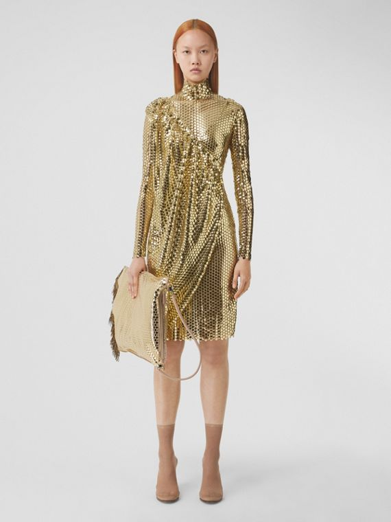 Metallic Paillette-embellished Mesh Asymmetric Dress in Gold