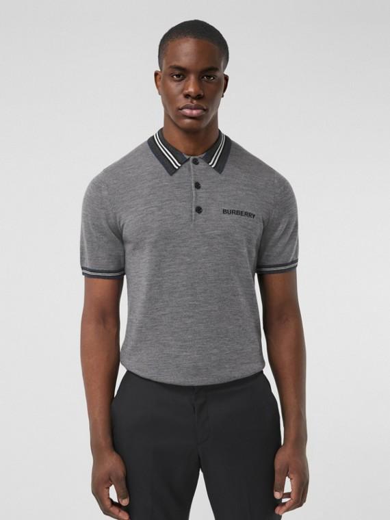 Icon Stripe Detail Wool Polo Shirt in Dark Grey