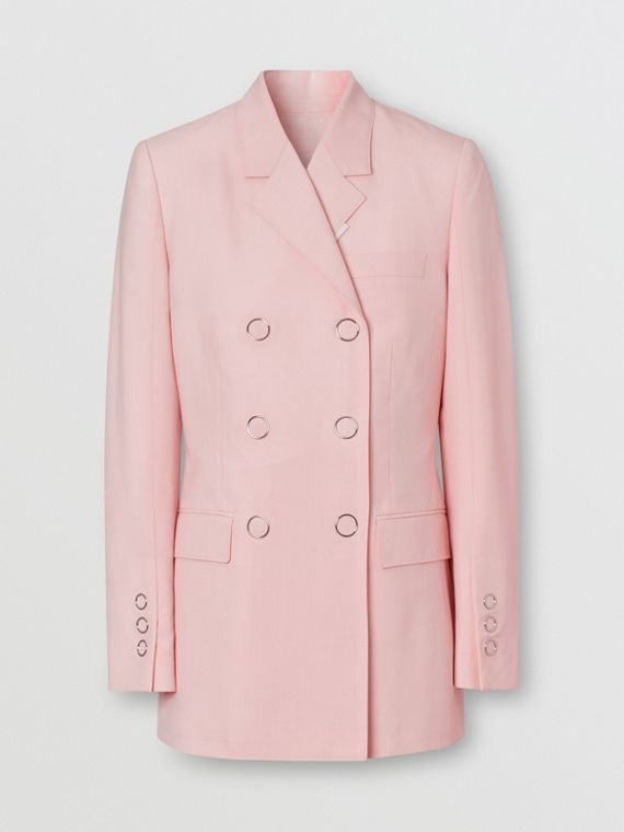 Tumbled Wool Double-breasted Blazer in Soft Pink