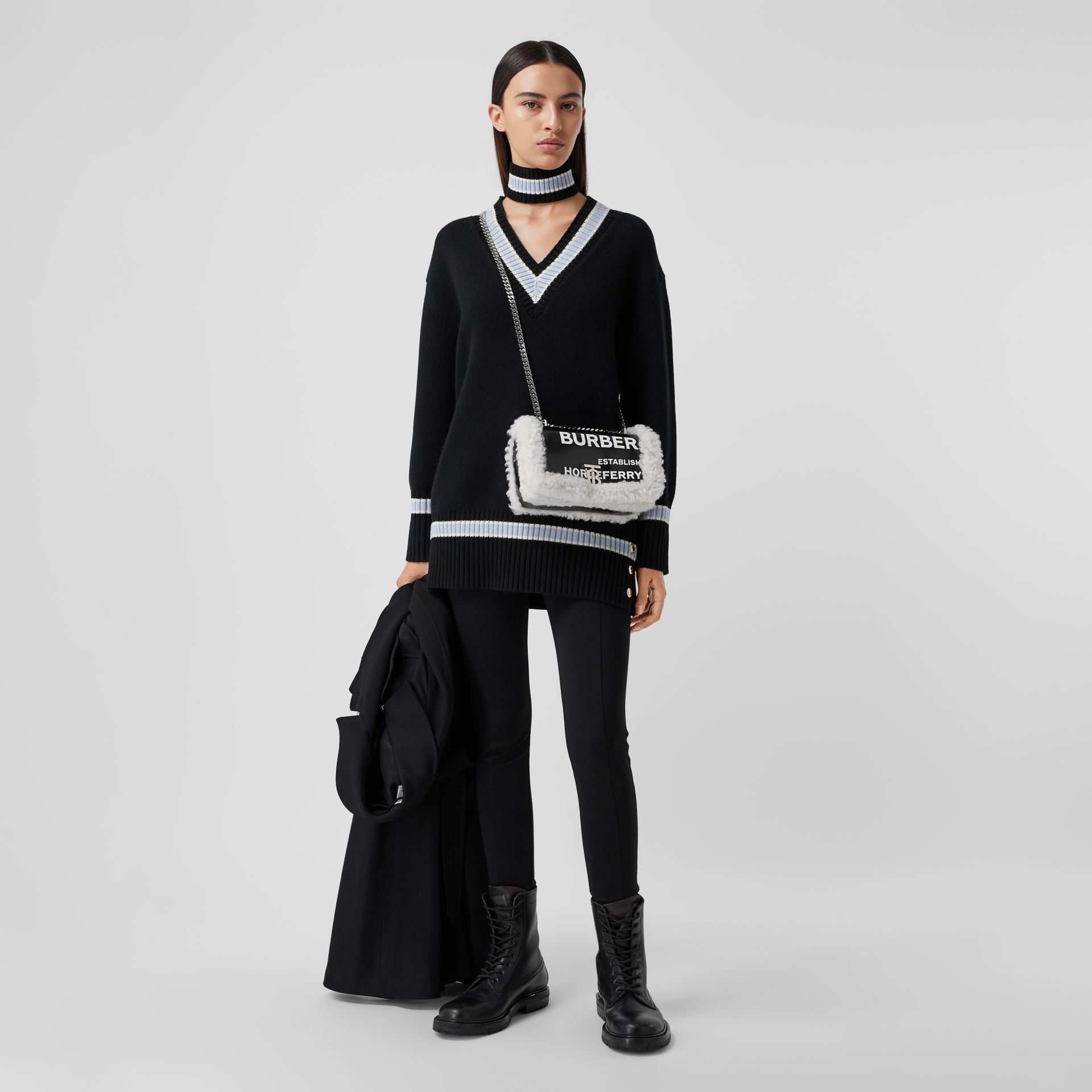 Small Horseferry Print Coated Canvas and Shearling Lola Bag in Black - Women | Burberry Canada - gallery image 5