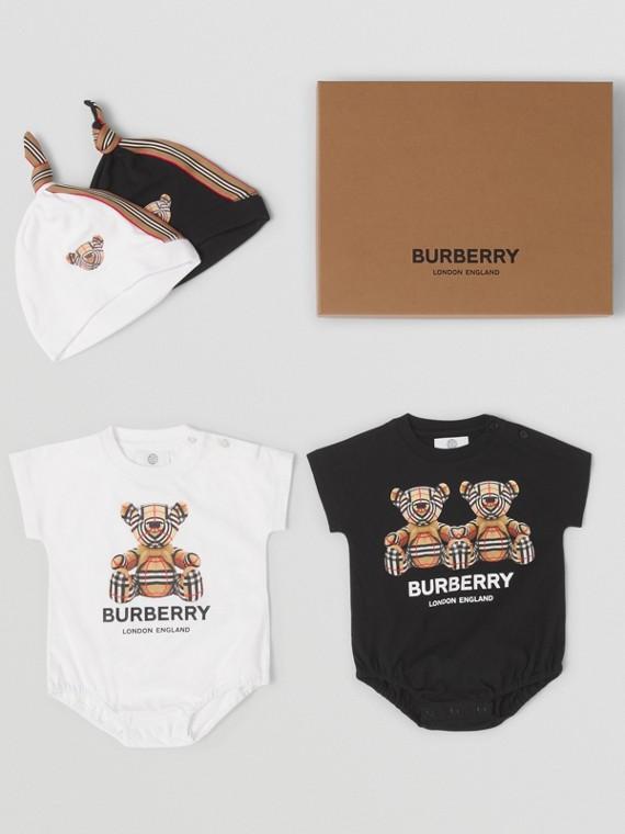 Thomas Bear Motif Cotton Four-piece Baby Gift Set in White