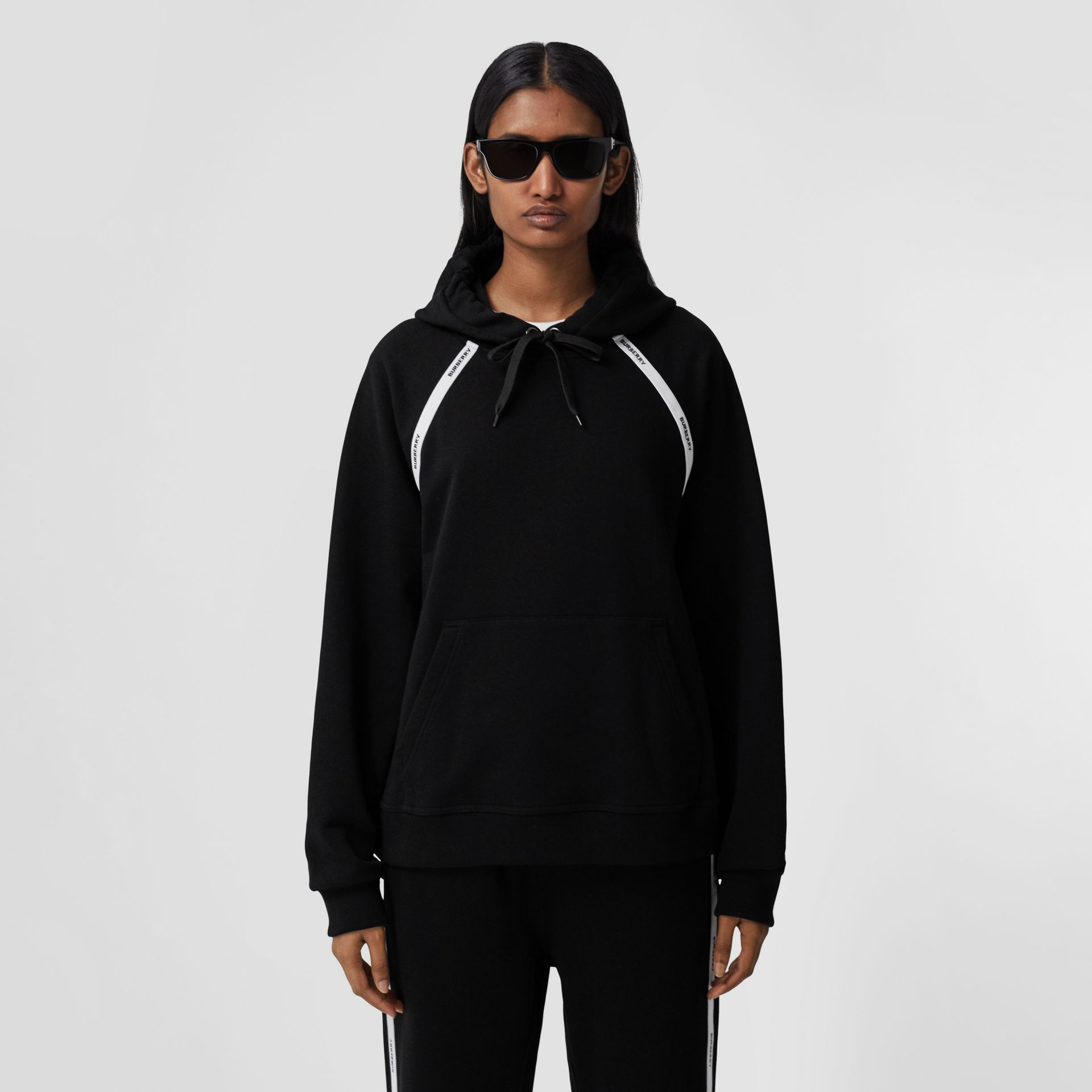 Logo Tape Cotton Oversized Hoodie in Black - Women | Burberry - gallery image 5
