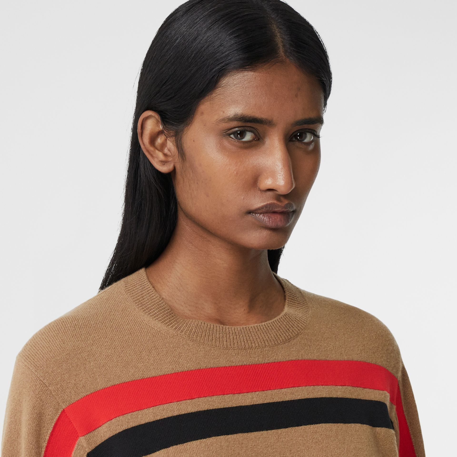 Stripe Detail Technical Cashmere Sweater in Beige - Women | Burberry - gallery image 1