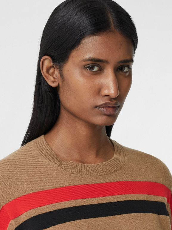 Stripe Detail Technical Cashmere Sweater in Beige - Women | Burberry - cell image 1
