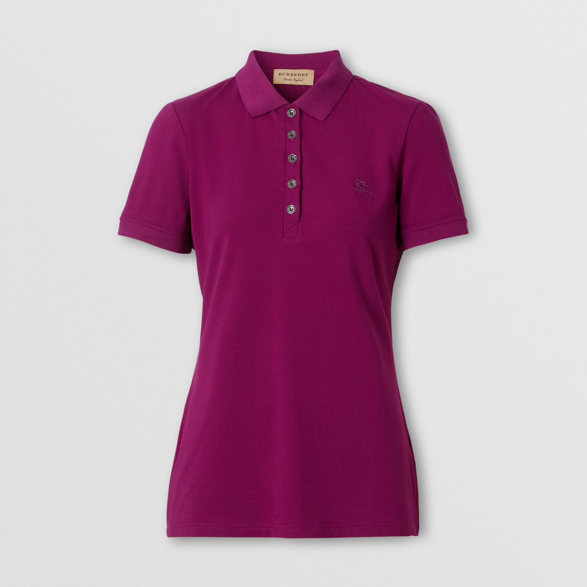 Check Trim Stretch Cotton Polo Shirt in Magenta Pink - Women | Burberry Hong Kong S.A.R. - gallery image 0