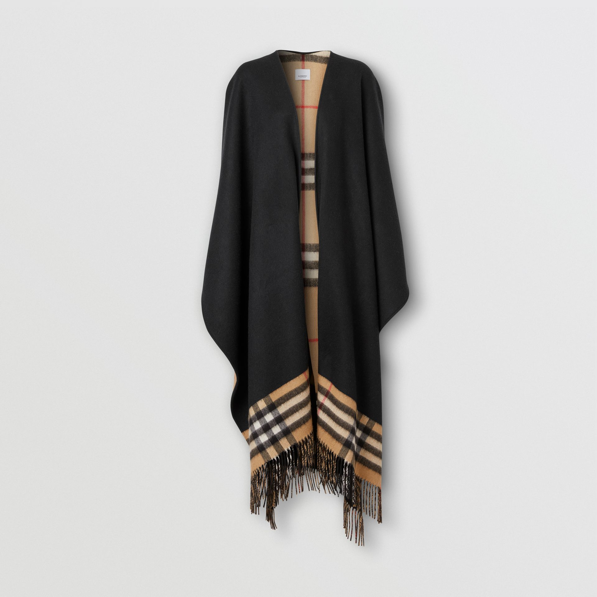 Check-lined Cashmere Merino Wool Cape in Black - Women | Burberry - gallery image 3
