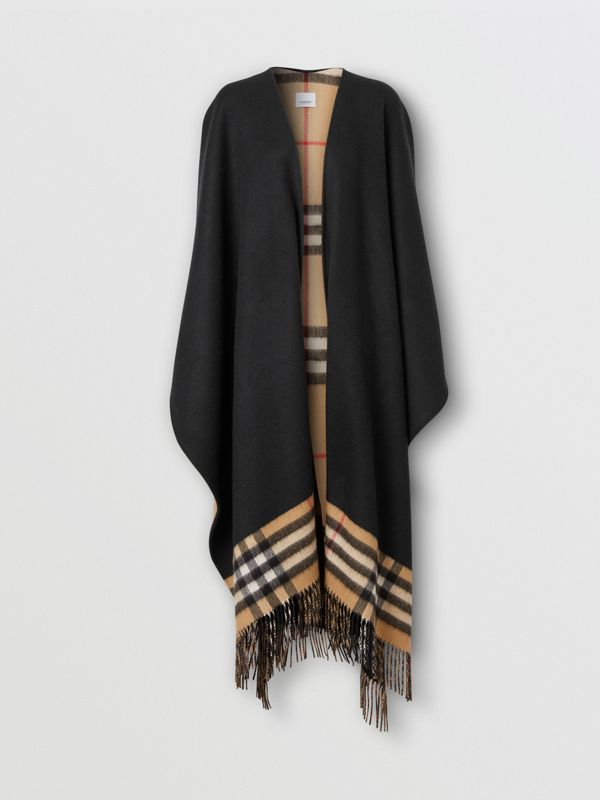 Check-lined Cashmere Merino Wool Cape in Black - Women | Burberry - cell image 3