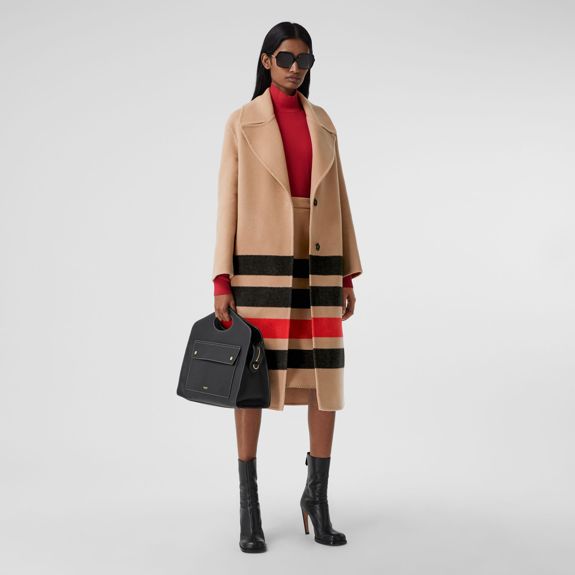 Stripe Detail Double-faced Wool Coat in Light Camel - Women | Burberry - gallery image 0