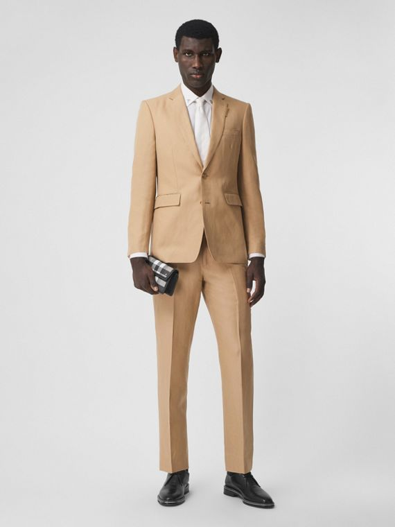 Wool Linen Cropped Tailored Trousers in Honey