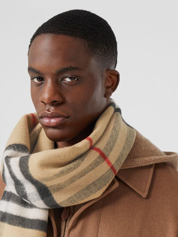 Love and Check Wool Silk Jacquard Scarf in Archive Beige | Burberry - cell image 3