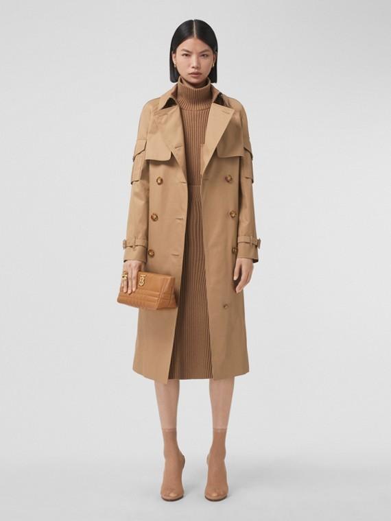 Pocket Detail Cotton Gabardine Trench Coat in Camel