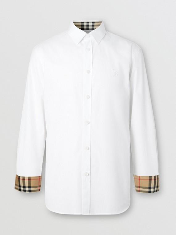 Slim Fit Monogram Motif Stretch Cotton Poplin Shirt in White