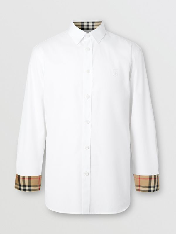 Slim Fit Monogram Motif Stretch Cotton Poplin Shirt in White - Men | Burberry United Kingdom - cell image 3