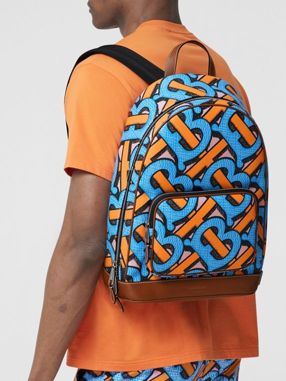Monogram Print E-canvas Backpack in Bright Cobalt