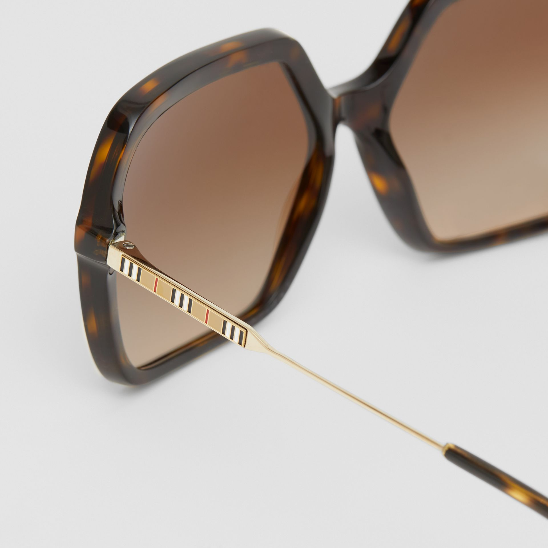 Oversized Square Frame Sunglasses in Tortoiseshell - Women | Burberry - gallery image 1