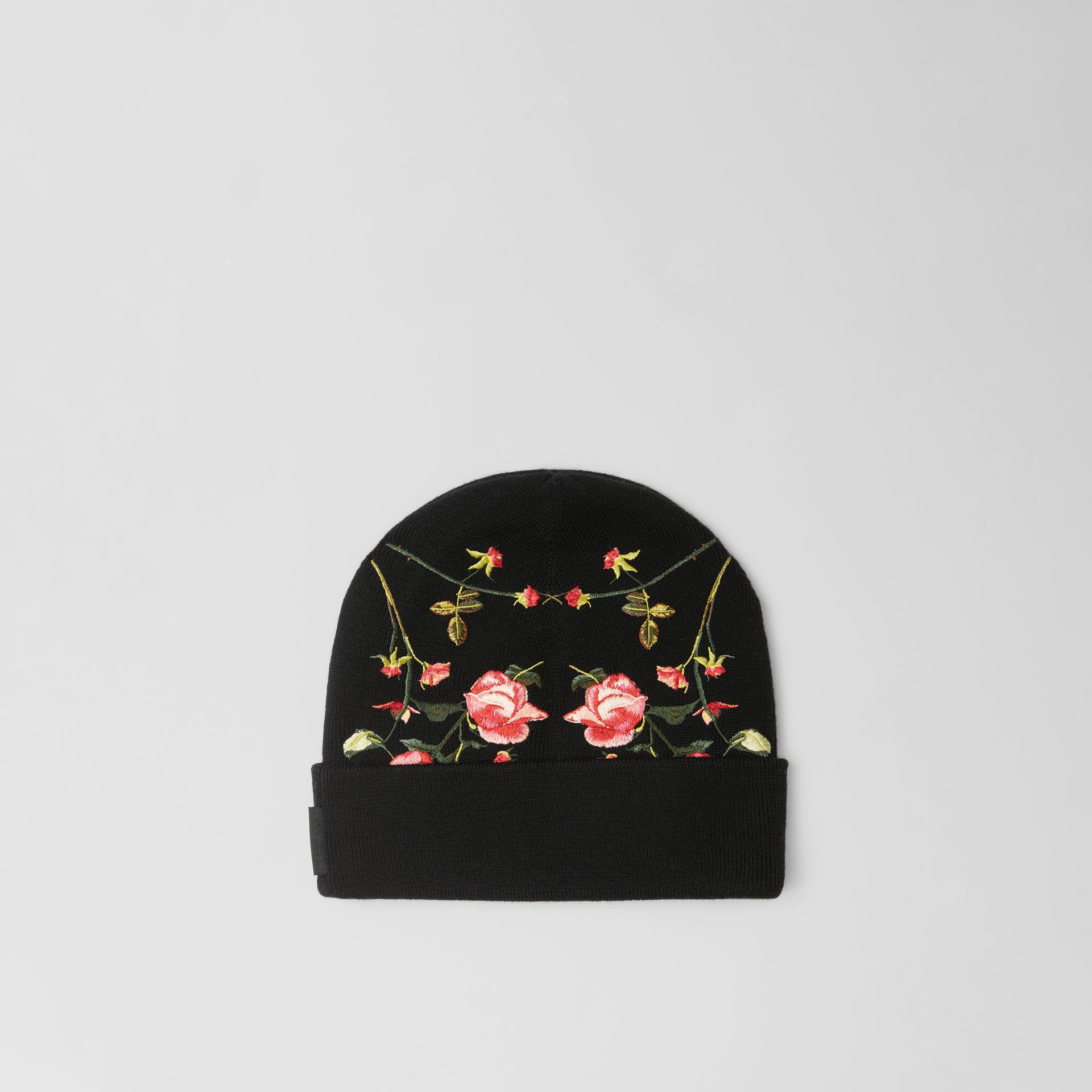 Embroidered Rose Merino Wool Beanie in Black | Burberry - gallery image 4
