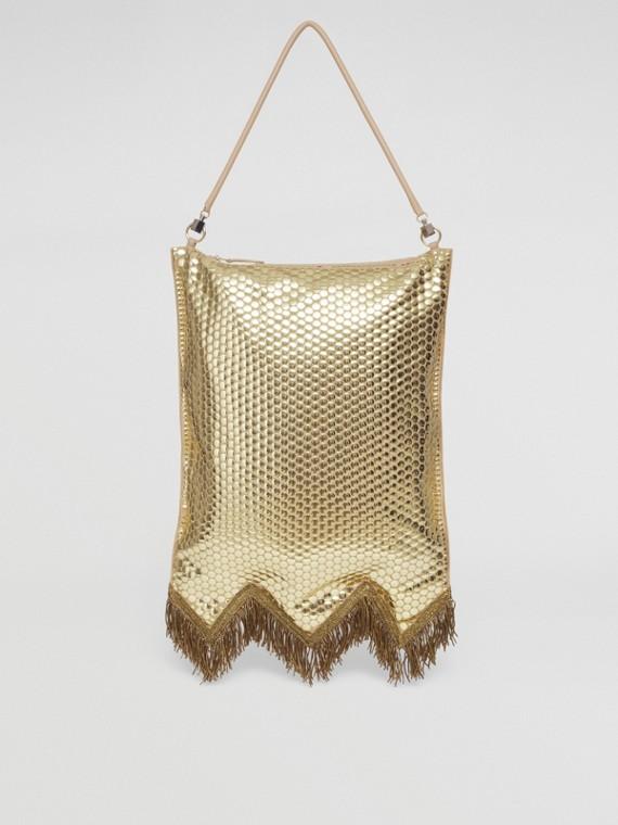 Bullion Fringing Paillette-embellished Silk Flag Bag in Cool Beige