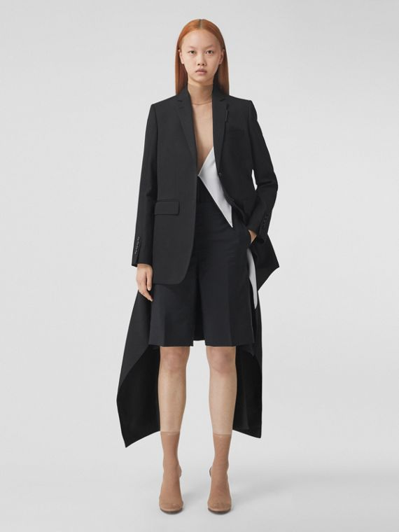 Exaggerated Panel Detail Wool Tailored Jacket in Black
