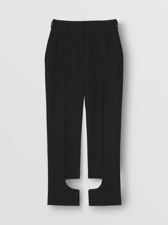 Pantaloni sartoriali in lana con apertura sul retro (Nero)