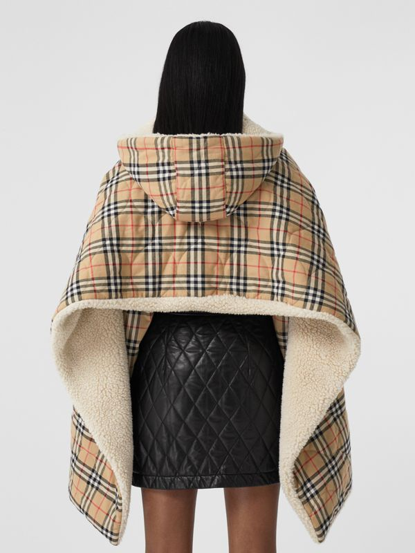 Fleece-lined Vintage Check Cotton Hooded Cape in Camel - Women | Burberry Canada - cell image 2