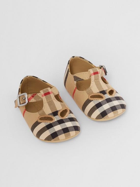 Vintage Check Cotton T-bar Shoes in Archive Beige