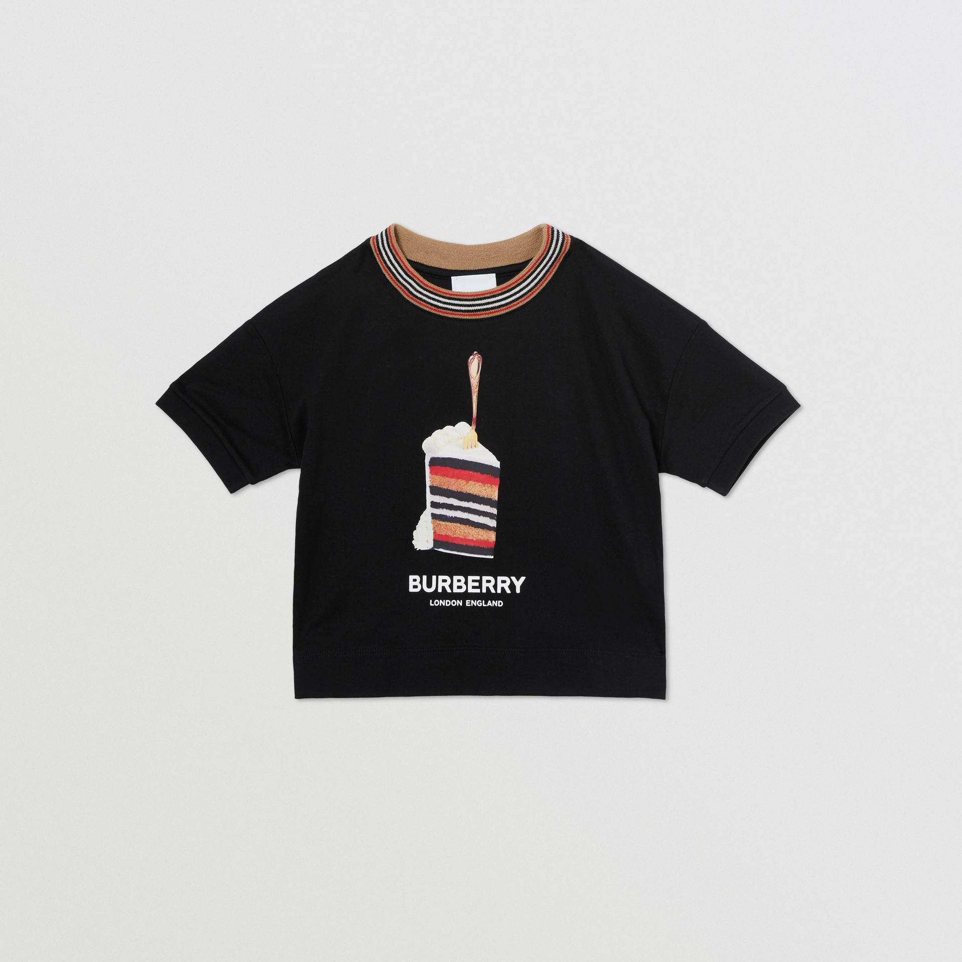 Cake Print Cotton T-shirt in Black | Burberry - gallery image 0