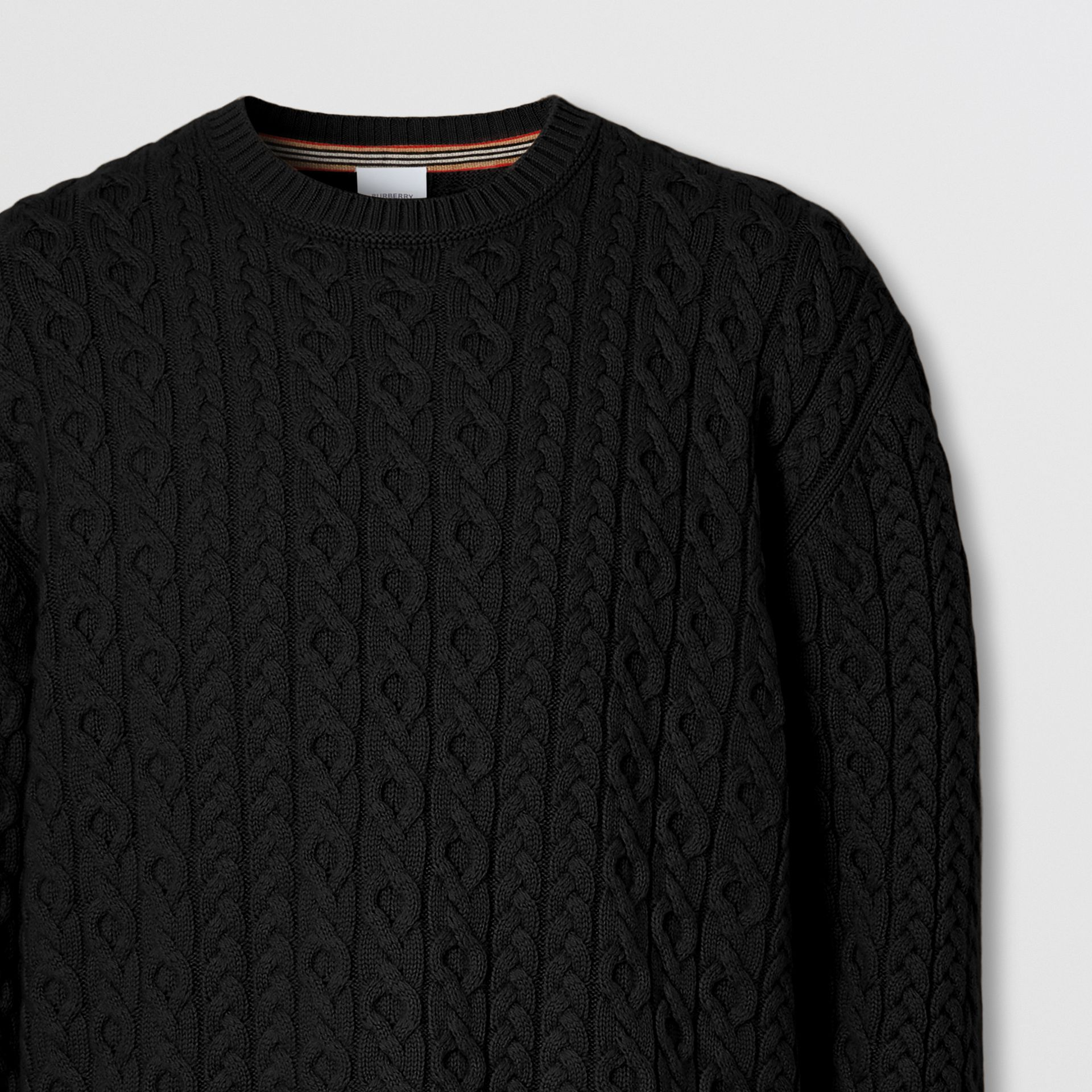 Cable Knit Wool Cashmere Sweater in Black - Men | Burberry Canada - gallery image 5