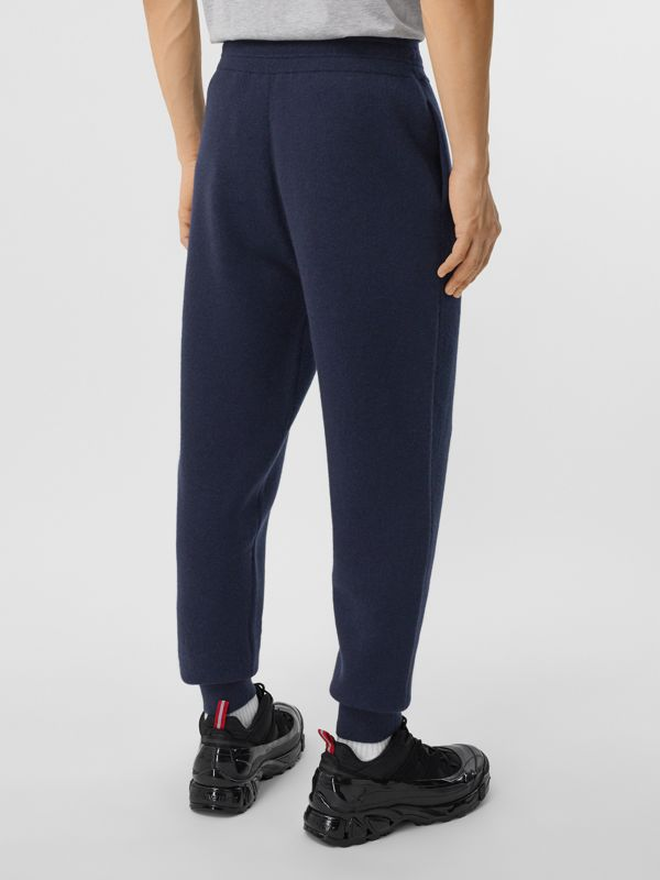 Monogram Motif Cashmere Blend Jogging Pants in Navy - Men | Burberry - cell image 2