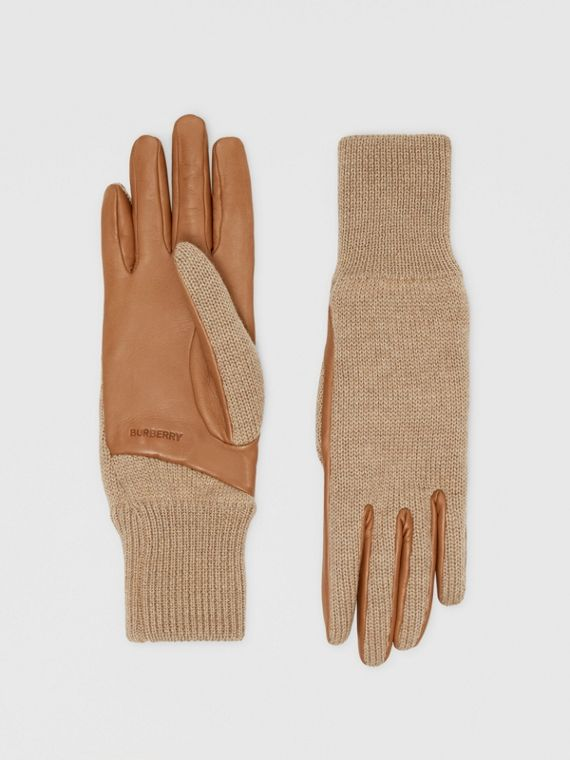 Cashmere-lined Merino Wool and Lambskin Gloves in Bronze