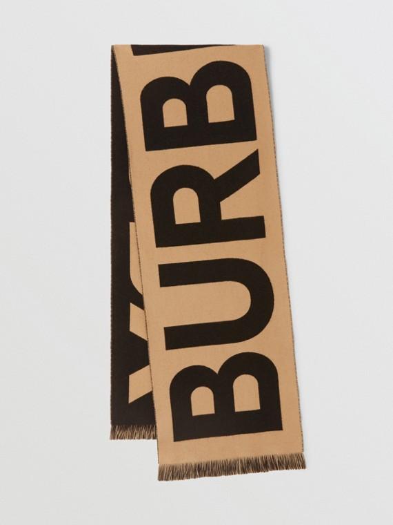 Bufanda en lana con logotipo en jacquard (Beige Vintage)