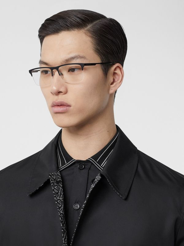 Rectangular Optical Frames in Matte Black - Men | Burberry - cell image 2