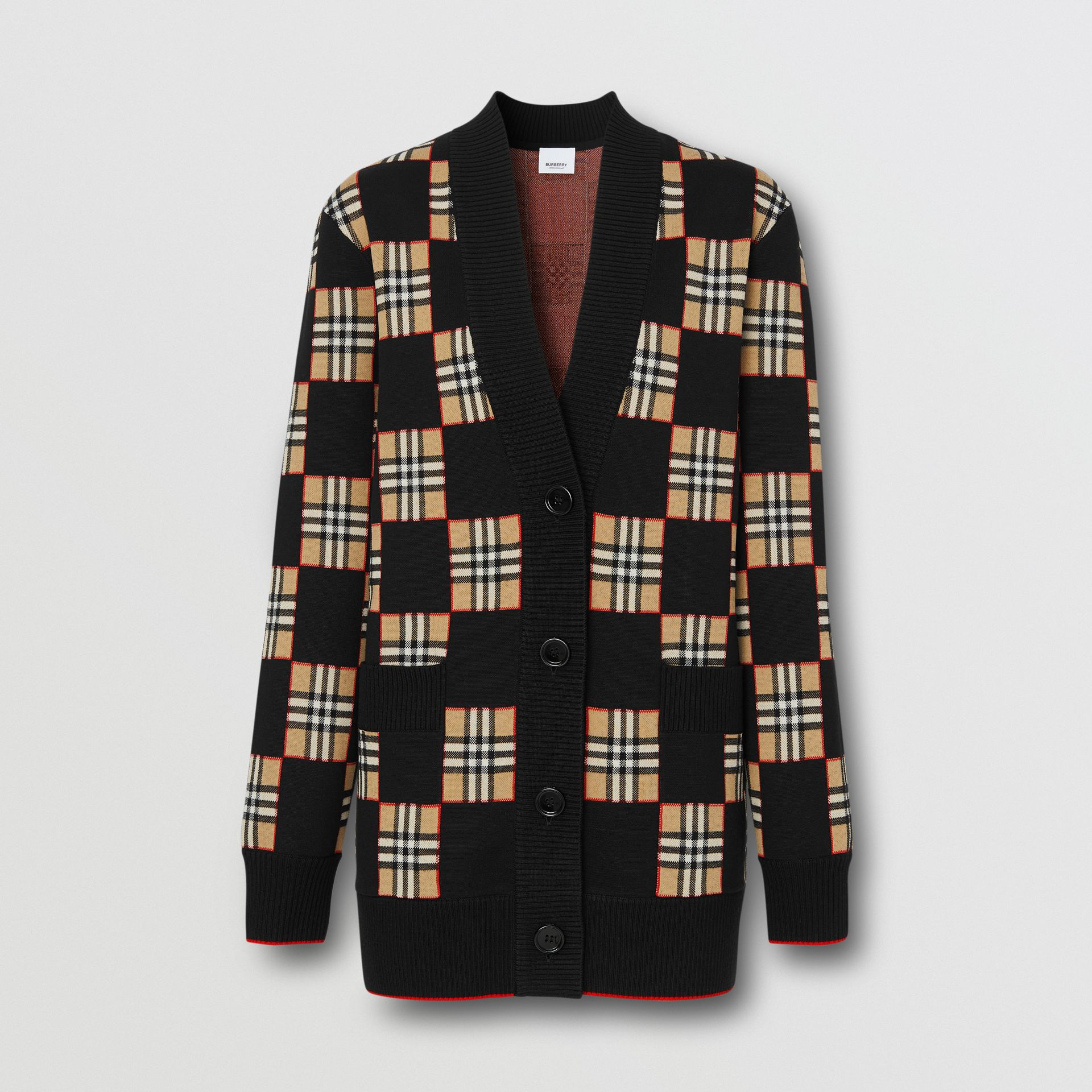 Chequer Merino Wool Blend Oversized Cardigan in Black/archive Beige - Women | Burberry United Kingdom - gallery image 0