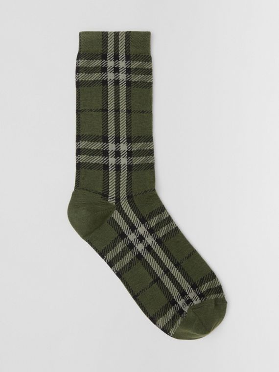Check Intarsia Technical Cotton Socks in Military Green