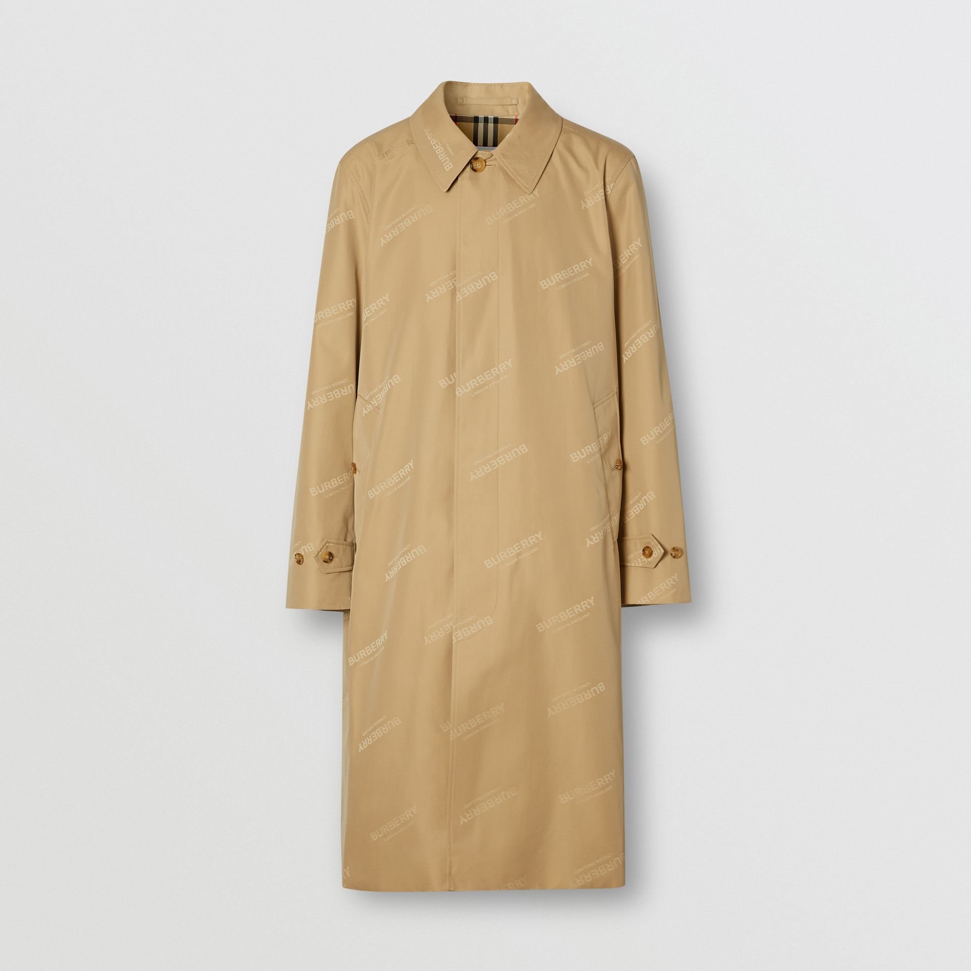 Logo Jacquard Cotton Twill Car Coat in Soft Fawn - Men | Burberry - gallery image 3