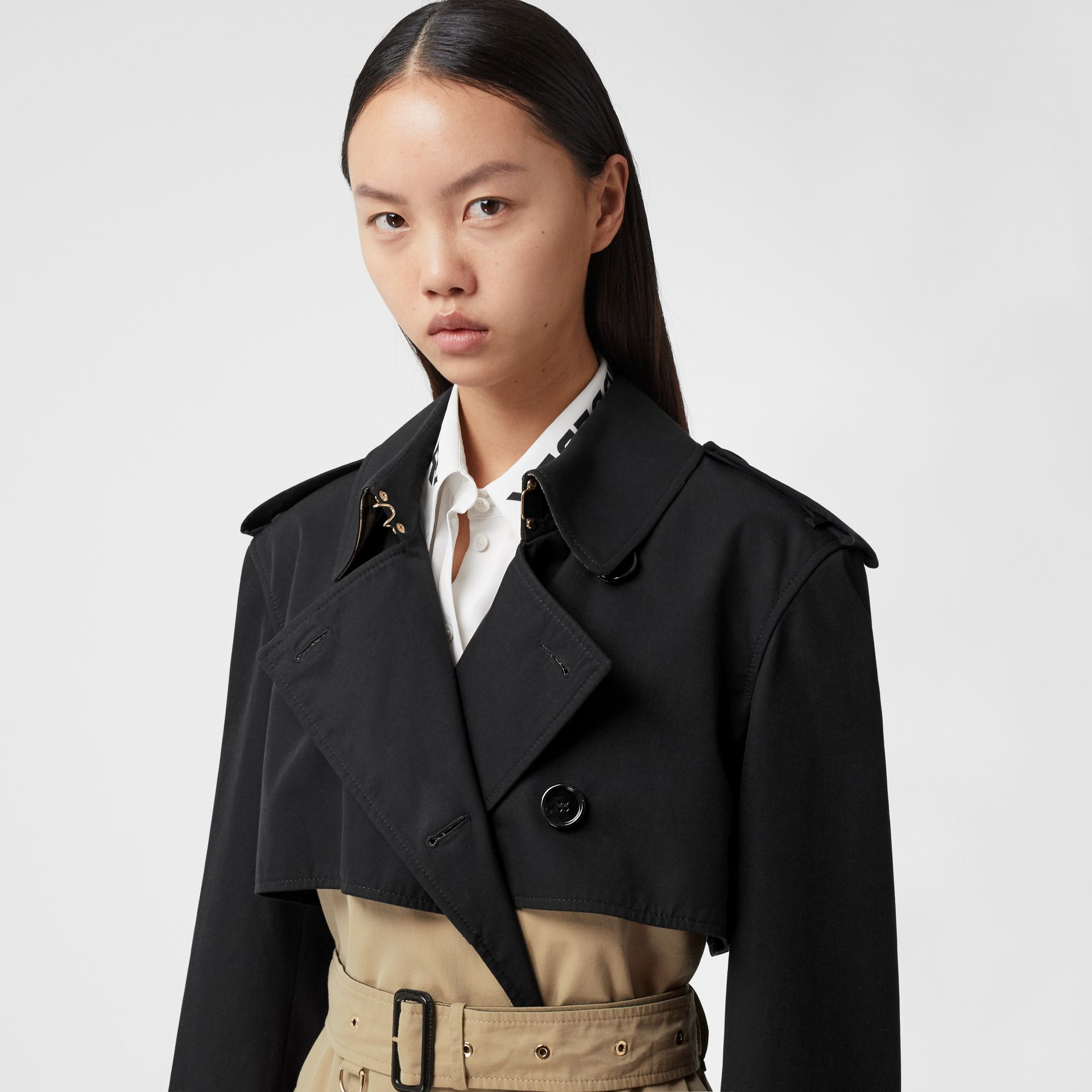 Two-tone Reconstructed Trench Coat in Black - Women | Burberry United Kingdom - gallery image 1