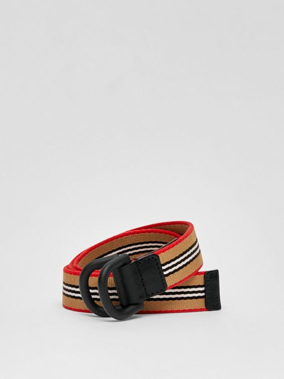 Icon Stripe Cotton D-ring Belt in Archive Beige
