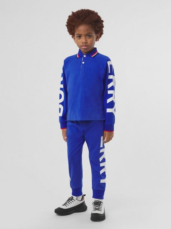 Calças jogger de algodão com estampa de logotipo (Azul Cobalto)