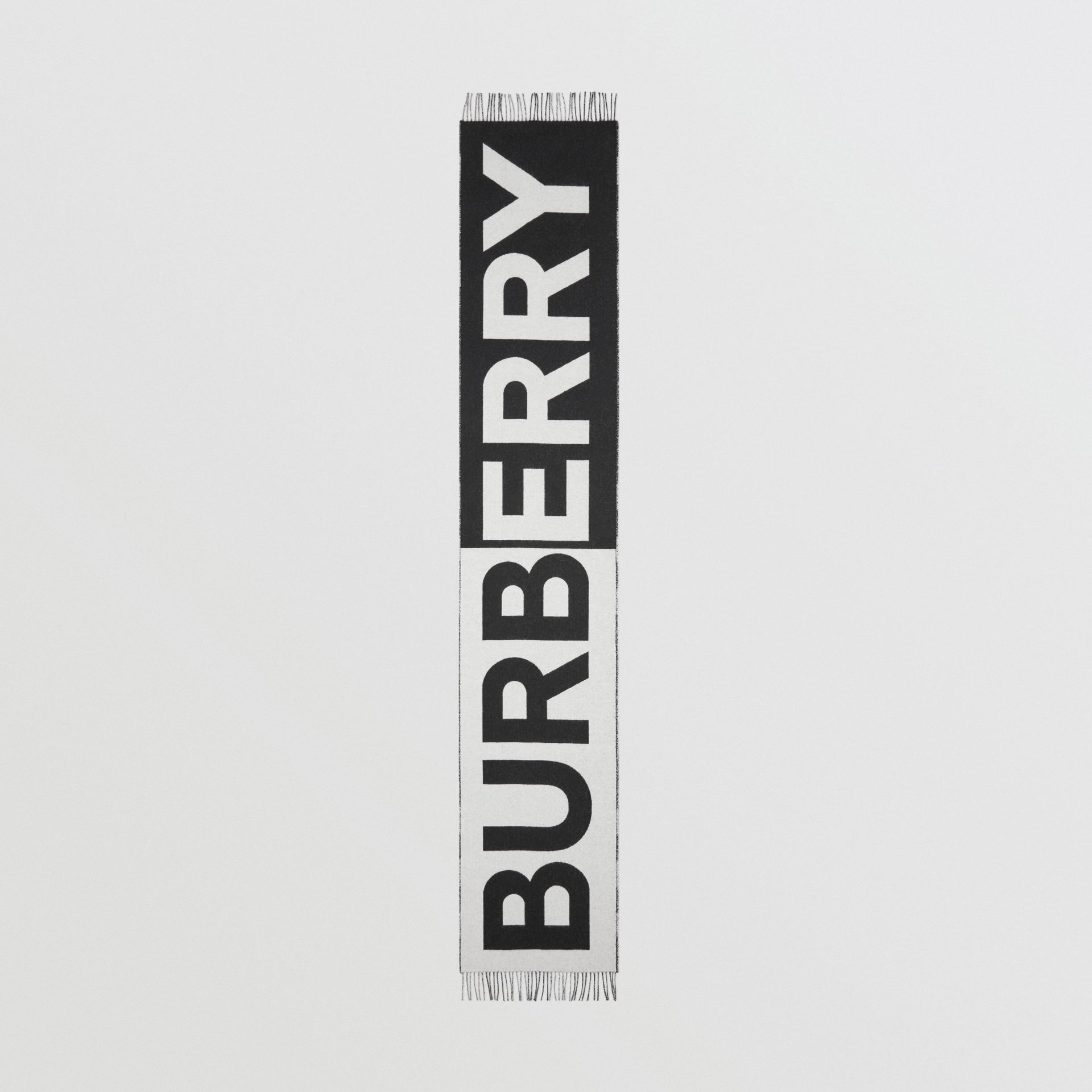 Reversible Check and Logo Cashmere Scarf in Black/white | Burberry - gallery image 5