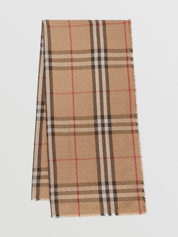 Leichter Woll-Seiden-Schal mit Monogramm- und Karomuster (Vintage-beige)